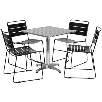 5 Piece Dining Set Finish: Black, Table Size: 31.5 W x 31.5 D