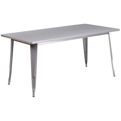 Garnet 31.5 X 63 RECTANGULAR BLACK METAL INDOOR-OUTDOOR TABLE Color: Silver
