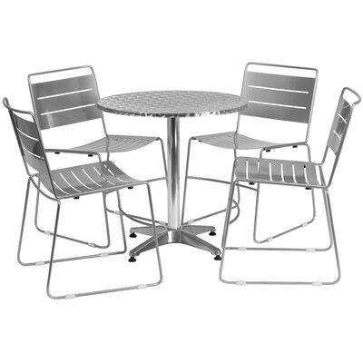 5 Piece Dining Set Finish: Silver, Table Size: 31.5 W x 31.5 D