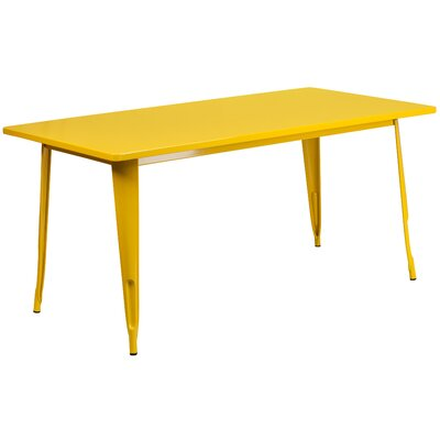 Garnet 31.5 X 63 RECTANGULAR BLACK METAL INDOOR-OUTDOOR TABLE Color: Yellow