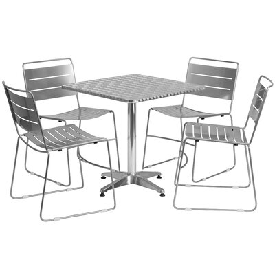 5 Piece Dining Set Finish: Silver, Table Size: 27.5 W x 27.5 D