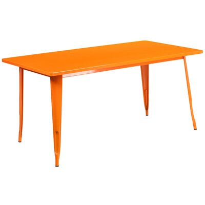 Garnet 31.5 X 63 RECTANGULAR BLACK METAL INDOOR-OUTDOOR TABLE Color: Orange
