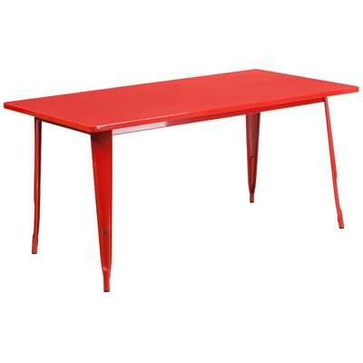 Garnet 31.5 X 63 RECTANGULAR BLACK METAL INDOOR-OUTDOOR TABLE Color: Red