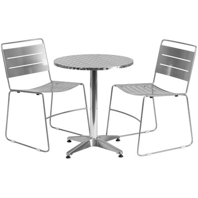 3 Piece Bistro Set Finish: Silver, Table Size: 23.5 W x 23.5 D