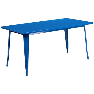 Garnet 31.5 X 63 RECTANGULAR BLACK METAL INDOOR-OUTDOOR TABLE Color: Blue