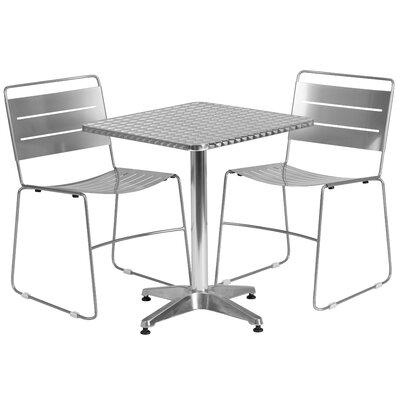 3 Piece Bistro Set Finish: Silver, Table Size: 23.5 W x 23.5 D