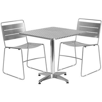 3 Piece Bistro Set Finish: Silver, Table Size: 27.5 W x 27.5 D