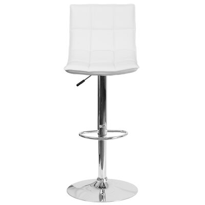 Navua Adjustable Height Swivel Bar Stool Upholstery: White
