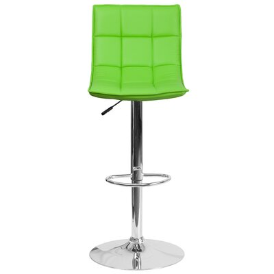 Navua Adjustable Height Swivel Bar Stool Upholstery: Green