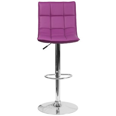 Navua Adjustable Height Swivel Bar Stool Upholstery: Purple