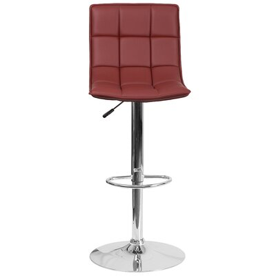 Navua Adjustable Height Swivel Bar Stool Upholstery: Burgundy