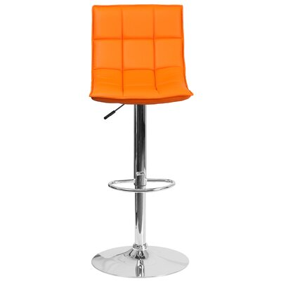Navua Adjustable Height Swivel Bar Stool Upholstery: Orange