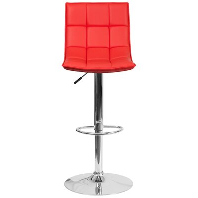Navua Adjustable Height Swivel Bar Stool Upholstery: Red