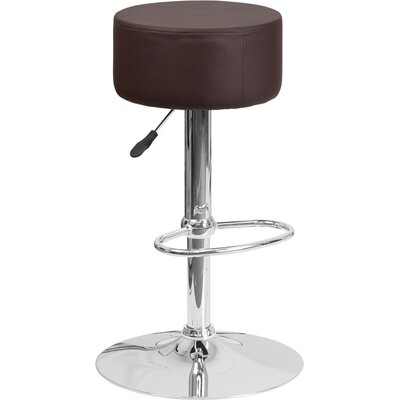 Neale Adjustable Height Swivel Bar Stool Upholstery: Brown