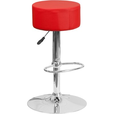 Neale Adjustable Height Swivel Bar Stool Upholstery: Red