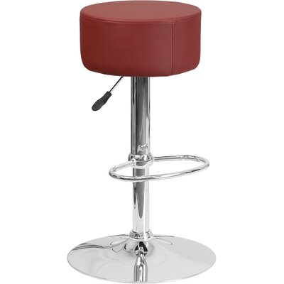 Neale Adjustable Height Swivel Bar Stool Upholstery: Burgundy