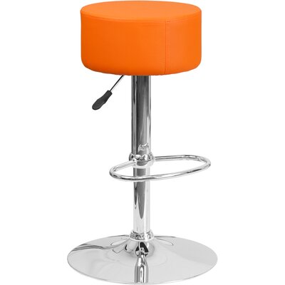 Adjustable Height Swivel Bar Stool Upholstery: Orange