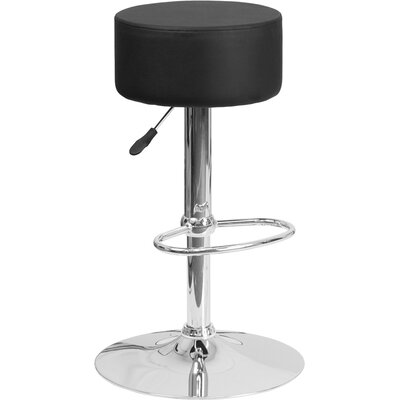 Neale Adjustable Height Swivel Bar Stool Upholstery: Black