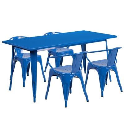5 Piece Dinning Set Finish: Blue