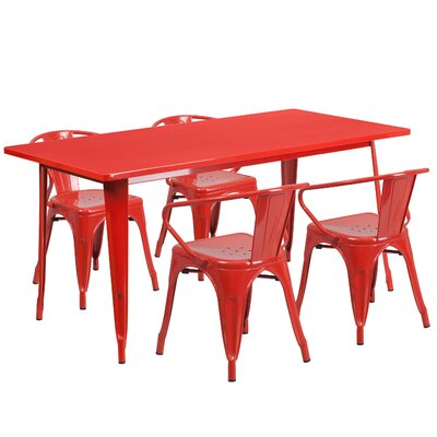 5 Piece Dinning Set Finish: Red