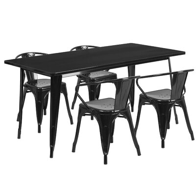Lubron 5 Piece Dinning Set Finish: Black
