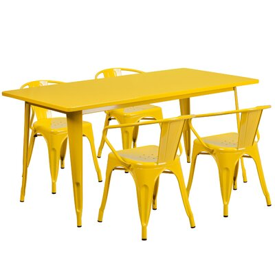 5 Piece Dinning Set Finish: Yellow
