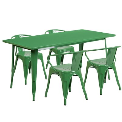 Lubron 5 Piece Dinning Set Finish: Green
