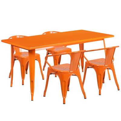 5 Piece Dinning Set Finish: Orange