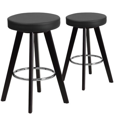 Salerno  24.25 Bar Stool Upholstery: Black