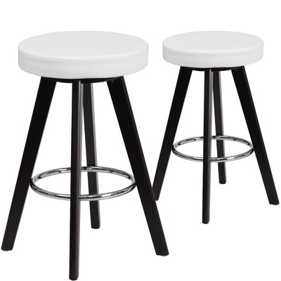 Salerno  24.25 Bar Stool Upholstery: White