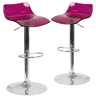 Nolette Adjustable Height Swivel Bar Stool Seat Finish: Purple