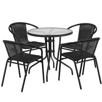 5 Piece Bistro Set Finish: Black