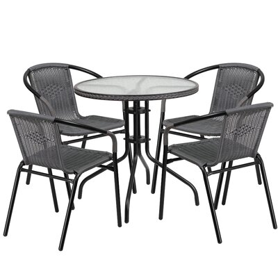 5 Piece Bistro Set Finish: Gray