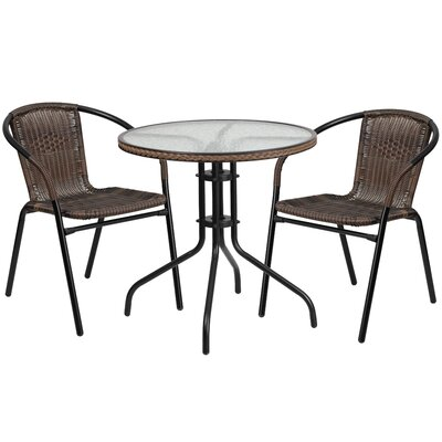 3 Piece Bistro Set Finish: Dark Brown