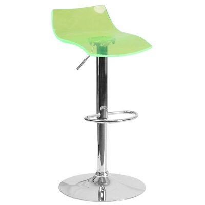Nolin Adjustable Height Swivel Bar Stool Seat Finish: Green