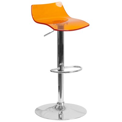 Nolin Adjustable Height Swivel Bar Stool Seat Finish: Orange