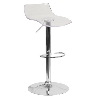 Adjustable Height Swivel Bar Stool Seat Finish: Clear