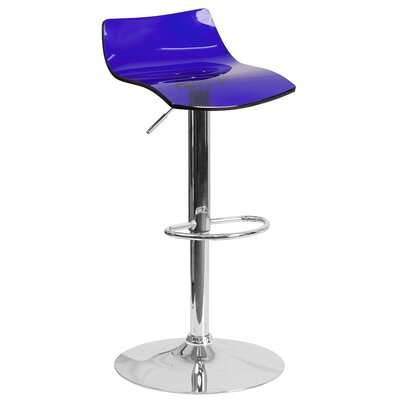 Adjustable Height Swivel Bar Stool Seat Finish: Blue
