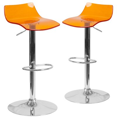 Nolette Adjustable Height Swivel Bar Stool Seat Finish: Orange