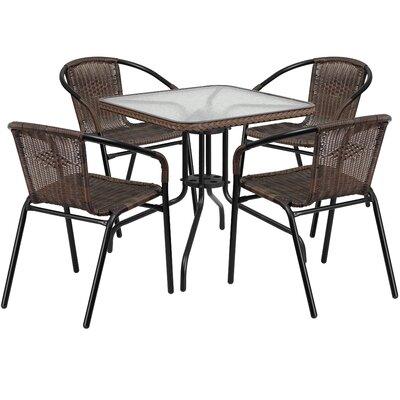 5 Piece Bistro Set Finish: Dark Brown