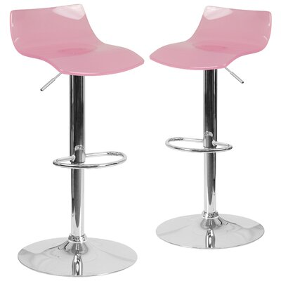Nolette Adjustable Height Swivel Bar Stool Seat Finish: Pink