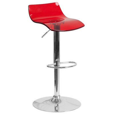 Adjustable Height Swivel Bar Stool Seat Finish: Red