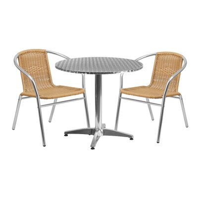 3 Piece Bistro Set Finish: Beige