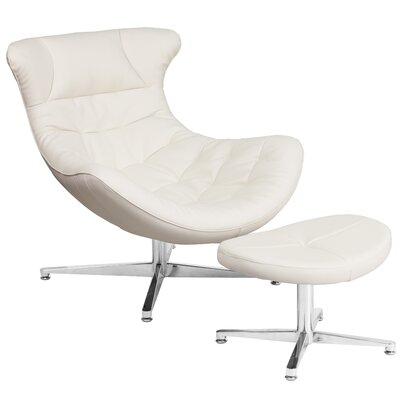 Cocoon Lounge Chair and Ottoman Color: White