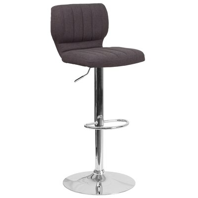 Rouillard Adjustable Height Swivel Bar Stool Color: Black