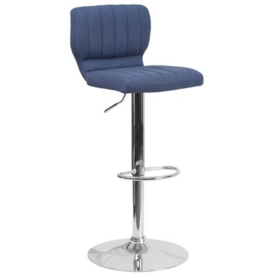 Adjustable Height Swivel Bar Stool Color: Blue