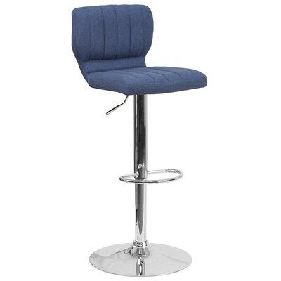 Rouillard Adjustable Height Swivel Bar Stool Color: Blue