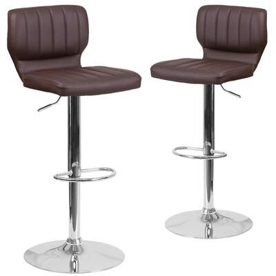 Norrell Adjustable Swivel Bar Stool Upholstery: Brown