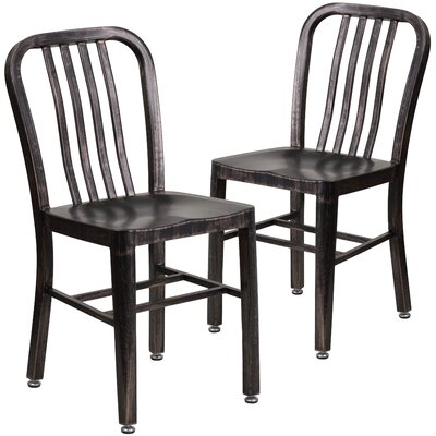 Belville Metal Side Chair Finish: Black-Antique Gold