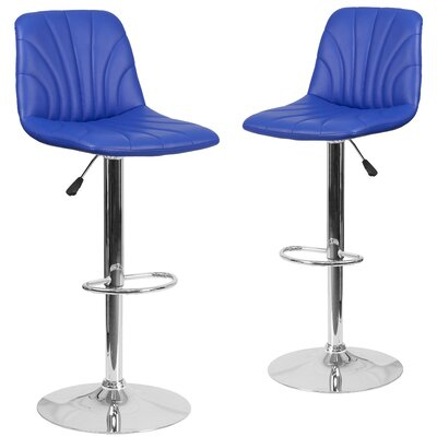 Noritake Adjustable Height Swivel Bar Stool Upholstery: Blue